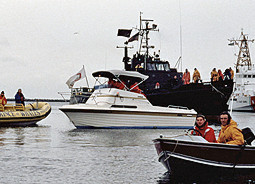 Protest at sea: Sea Shepherd and local citizens form a flotilla to protect the gray whales from the hunters.