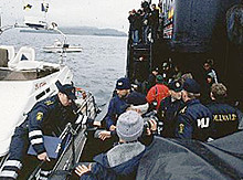Faeroe police board the Ocean Warrior.