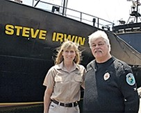 2007 071205 Paul Watson and Terri Irwin in front of ship 2